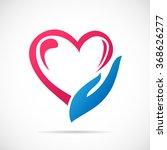 hands holding heart logo....   Shutterstock .eps vector #368626277