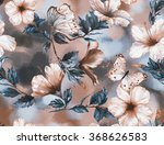 hand drawn  watercolor floral... | Shutterstock . vector #368626583