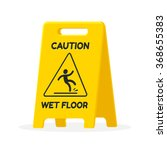 wet floor sign isolated flat