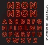 red neon font complete alphabet ...   Shutterstock .eps vector #368656193