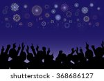 a crowd of people and fireworks.... | Shutterstock .eps vector #368686127