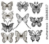 set of hand drawn butterflies.... | Shutterstock .eps vector #368688317