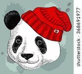 image of panda in knitted hats. ... | Shutterstock .eps vector #368691977