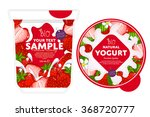 yogurt splash on strawberry. | Shutterstock .eps vector #368720777