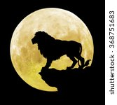 black lion in front of the moon | Shutterstock . vector #368751683