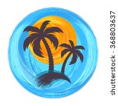 sun and palm trees brush... | Shutterstock .eps vector #368803637