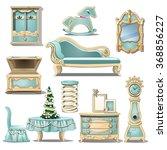 the blue room interior in retro ... | Shutterstock .eps vector #368856227