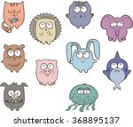 cute funny animals | Shutterstock .eps vector #368895137