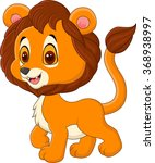 cute baby lion walking isolated ... | Shutterstock . vector #368938997