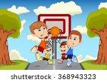 children playing basketball on... | Shutterstock .eps vector #368943323