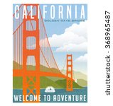 retro style travel poster or... | Shutterstock .eps vector #368965487