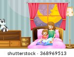 mother telling bedtime story at ... | Shutterstock .eps vector #368969513