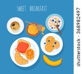 fresh breakfast with coffee ... | Shutterstock .eps vector #368982497