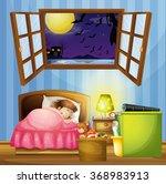 little girl sleeping in the... | Shutterstock .eps vector #368983913