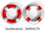 red and white life buoy with rope isolated - 3d render - stock photo