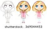 sweet blond anime girl | Shutterstock .eps vector #369044453