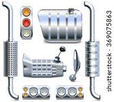vector chromed truck parts set 2 | Shutterstock .eps vector #369075863
