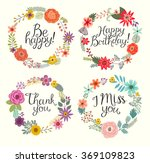 floral hand drawn set. vector... | Shutterstock .eps vector #369109823