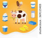 cow and dairy products icons.... | Shutterstock .eps vector #369115403
