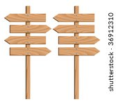 vector wooden direction arrows | Shutterstock .eps vector #36912310