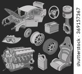 car parts icons isometric vector | Shutterstock .eps vector #369157367