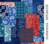 bandanna fabric patchwork ... | Shutterstock .eps vector #369166133