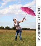 flying girl with umbrella in... | Shutterstock . vector #36917854