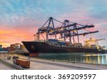 cargo ship loading containers... | Shutterstock . vector #369209597