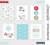 set of 6 cute creative cards... | Shutterstock .eps vector #369254627