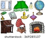 set of objects of interior with ... | Shutterstock .eps vector #369285137