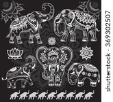 set of decorated elephants on... | Shutterstock .eps vector #369302507