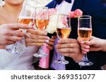 tray of colorful glasses filled ... | Shutterstock . vector #369351077