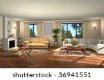 3d render of modern living room | Shutterstock . vector #36941551