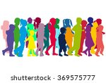 group of children's silhouettes. | Shutterstock .eps vector #369575777