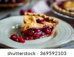 Homemade Cherry Pie On Rustic...