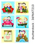 stickers with romantic couple | Shutterstock .eps vector #369647213