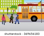 the children got off the bus at ... | Shutterstock .eps vector #369656183