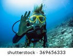 Lady Scuba Diver Showing Ok...