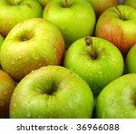 fresh green apples with water... | Shutterstock . vector #36966088