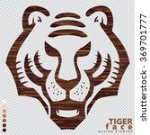 illustrated vector tiger face...