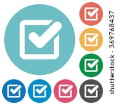 flat checkbox icon set on round ...