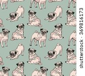 Cute Dogs. Pug. Vector Seamles...
