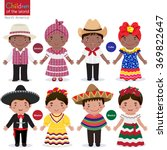 kids in different traditional... | Shutterstock .eps vector #369822647