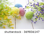 easter eggs and flowers frame... | Shutterstock . vector #369836147