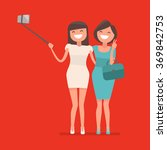 selfie shot of two young girls... | Shutterstock .eps vector #369842753
