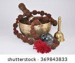 Tibetan Singing Bowl With Bead...