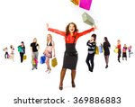 bags full crowd of shoppers  | Shutterstock . vector #369886883