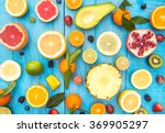 mix of colored fruits on white... | Shutterstock . vector #369905297