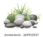 a pile of stones and green... | Shutterstock .eps vector #369923537