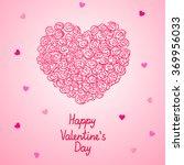 valentine heart made of roses ... | Shutterstock .eps vector #369956033